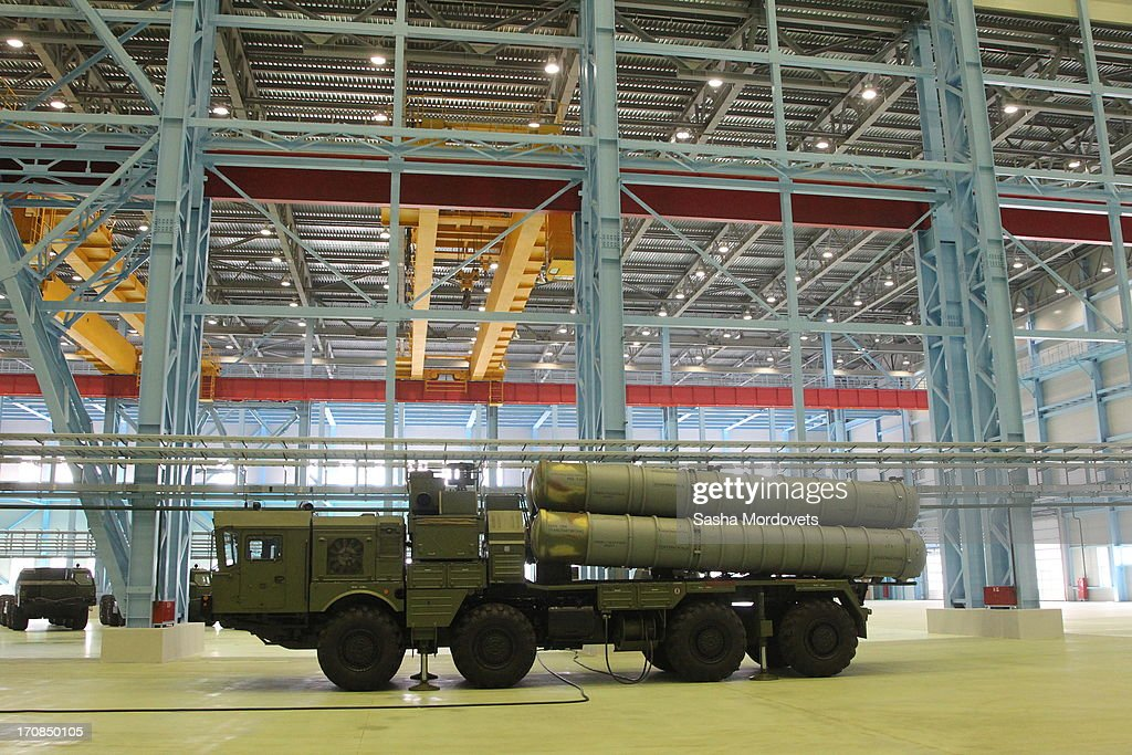 A new Surface-to-air missile complex Vityaz, also known as MASM of MRADS, is on display at the Obukhov state plant during Russian President Vladmir Putin visit on June 19, 2013 in in Saint Petersburg, Russia. Putin held a meeting at the plant on the development and implementation of military services and equipment.