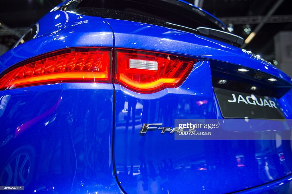 A new SUV FPace is displayed at the Jaguar booth during a press day of the 66th IAA auto show in Frankfurt am Main western Germany on September 16...