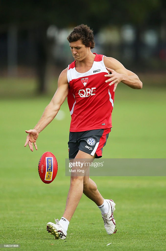 New Swans signing Kurt Tippett kicks during a Sydney Swans AFL training session at Moore Park on December 12, 2012 in Sydney, Australia.