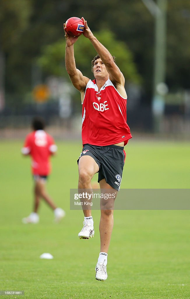 New Swans signing Kurt Tippett marks during a Sydney Swans AFL training session at Moore Park on December 12, 2012 in Sydney, Australia.