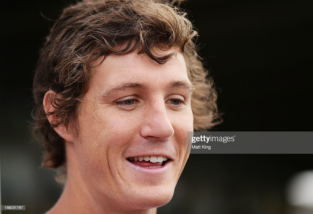 New Swans signing Kurt Tippett speaks to the media during a Sydney Swans AFL training session at Moore Park on December 12, 2012 in Sydney, Australia.