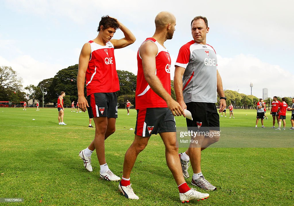 New Swans signing Kurt Tippett (L) walks behind <a gi-track='captionPersonalityLinkClicked' href=/galleries/search?phrase=Jarrad+McVeigh&family=editorial&specificpeople=3083250 ng-click='$event.stopPropagation()'>Jarrad McVeigh</a> (C) and Swans coach John Longmire (R) during a Sydney Swans AFL training session at Moore Park on December 12, 2012 in Sydney, Australia.