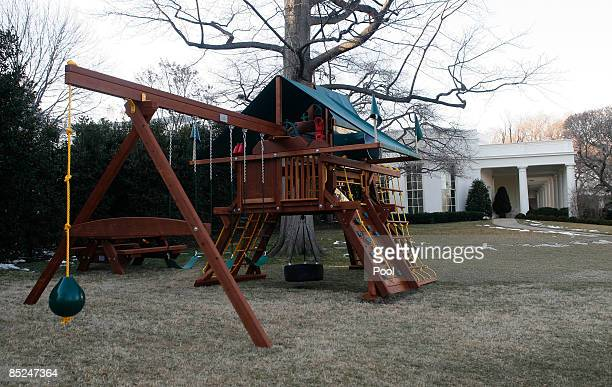 A new swing and play set stands after being installed on the South Lawn of the White House near the Oval Office March 4 2009 in Washingtion DC The...