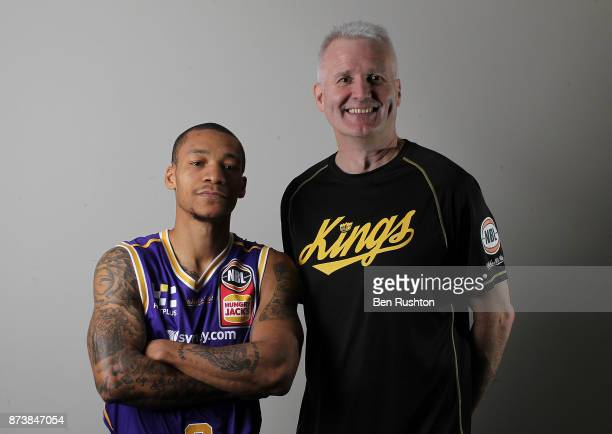 New Sydney Kings recruit Jerome Randle and Andrew Gaze pose for a photograph during a Sydney Kings NBL training session at Qudos Bank Arena on...