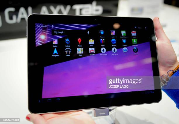 A new tablet computer called 'Galaxy' by Samsung is displayed at the 3GSM World congress in Barcelona on February 14 2011 The 2011 Mobile World...