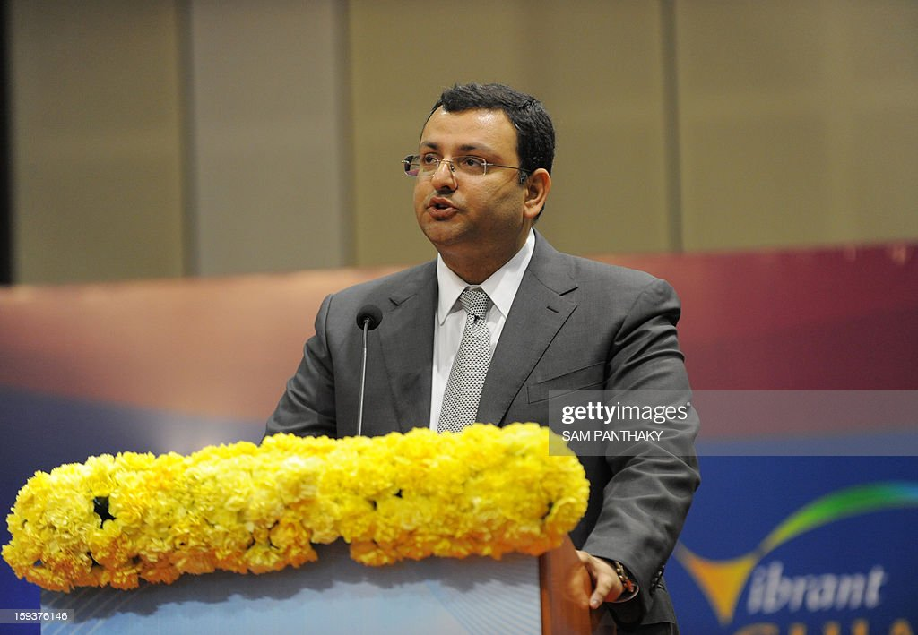 New Tata Group Chairman Cyrus Mistry delivers a public address during the Velidictory function of the Vibrant Gujarat 2013 6th Global Summit at Mahatma Mandir in Gandhinagar, some 30 kms from Ahmedabad on January 12, 2013. The summit was inaugurated by Gujarat Chief Minister, Narendra Modi yesterday and the two day summit is attended by a wide range of national and international corporate representatives. AFP PHOTO / Sam PANTHAKY