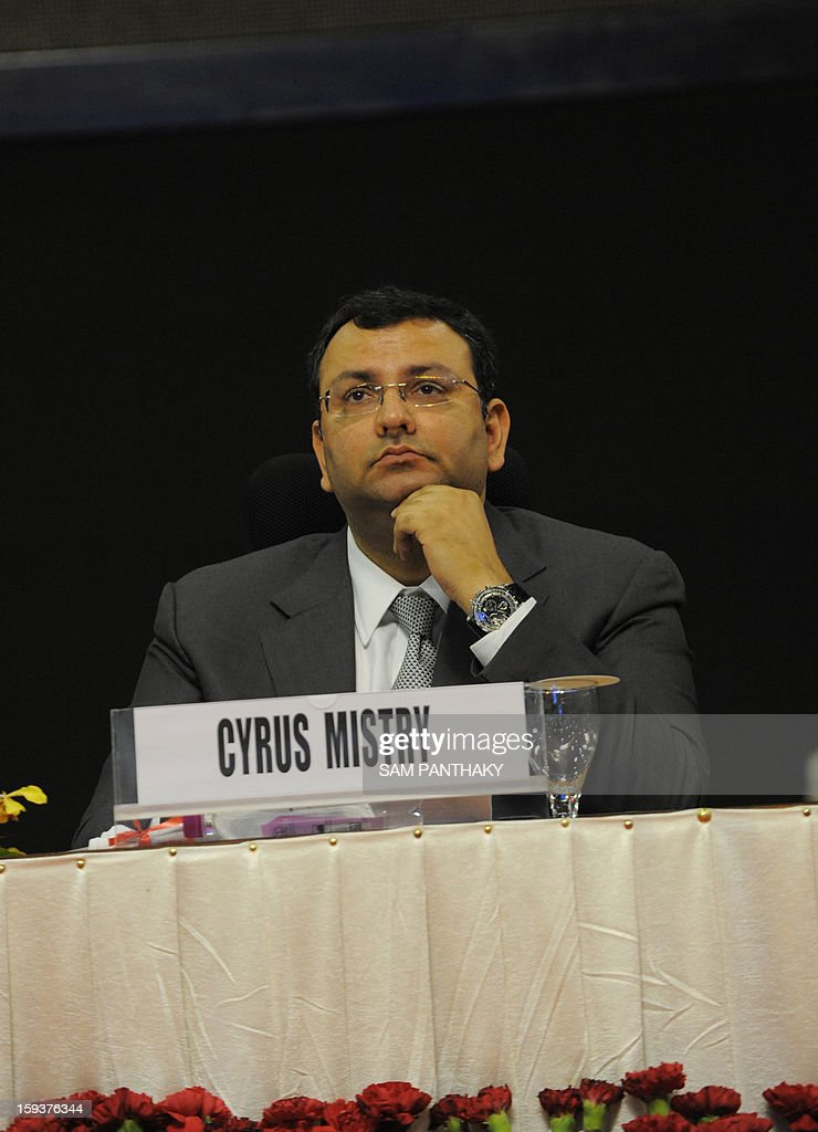 New Tata Group Chairman Cyrus Mistry looks on during the Velidictory function of the Vibrant Gujarat 2013 6th Global Summit at Mahatma Mandir in Gandhinagar, some 30 kms from Ahmedabad on January 12, 2013. The summit was inaugurated by Gujarat Chief Minister, Narendra Modi yesterday and the two day summit is attended by a wide range of national and international corporate representatives. AFP PHOTO / Sam PANTHAKY