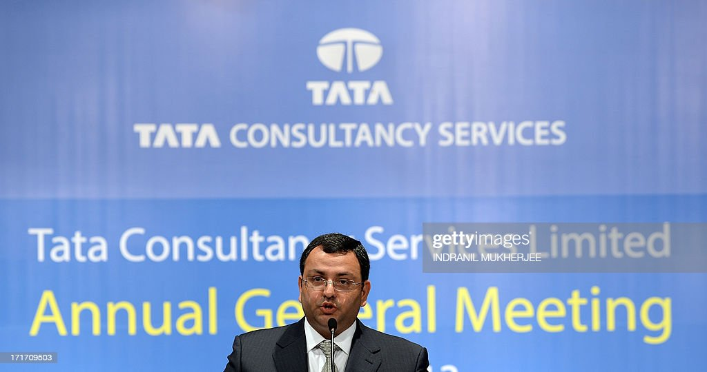 New Tata Group chairman, Cyrus Mistry speaks at his first and the 9th Annual General Meeting of Tata Consultancy Services in Mumbai on June 28, 2013. India's biggest IT outsourcing firm, Tata Consultancy Services, popularly known as TCS and part of the steel-to-tea Tata conglomerate, counts blue-chip companies such as British Airways, Microsoft and Sony among its main clients.
