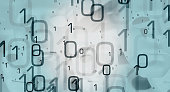 Computer binary code, cyber security abstract background