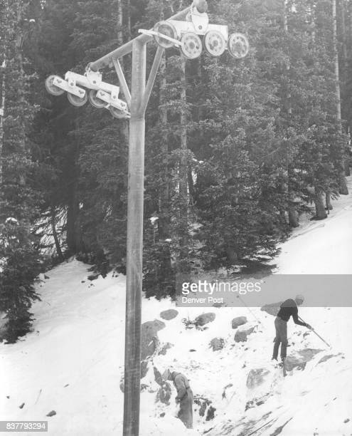 New Telescope Tower Chuck Harvey chief mechanic for the Colorado Transportation Co and Georg Schambeck ski tow operator and builder check site of one...