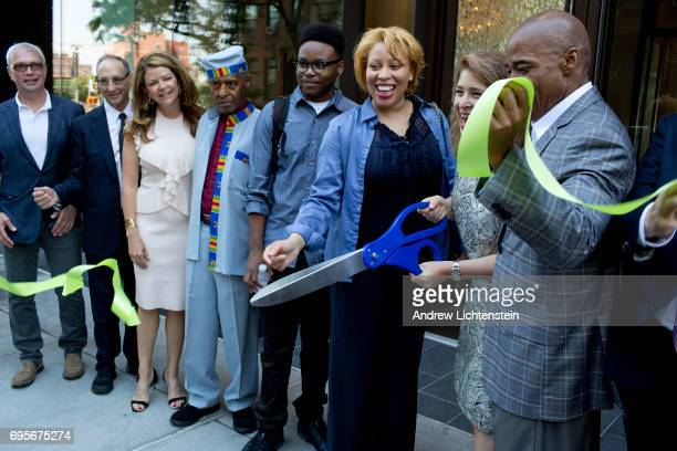 A new tenant joins developers city officials and community leaders for a ribbon cutting ceremony for a new building in the Atlantic Yards development...