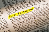 The term New Testament - dictionary definition highlighted with yellow marker