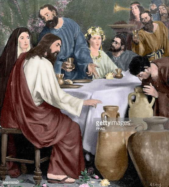 New Testament Marriage of Cana Engraving after a painting by Antonio Estruch The Artistic Illustration 1897 Colored