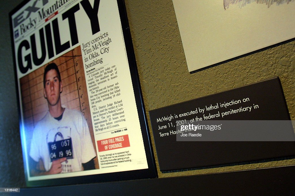 A new time line announces the execution of Timothy McVeigh June 12 2001 at the Oklahoma National Memorial museum in Oklahoma City one day after the...