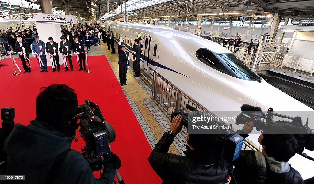 New Tokaido Shinkansen bullet train N700A is seen during its launching ceremony at Shin Osaka Station on February 8, 2013 in Osaka, Japan. The new train, boasting an automated speed control system and a host of passenger-friendly features, makes its commercial debut.