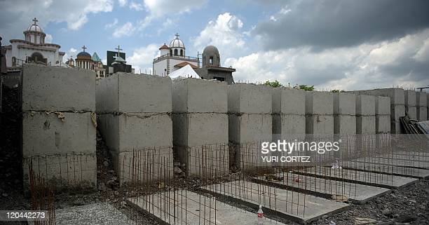 New tombs and mausoleum are under construction at the 'Humaya Gardens' cementery on July 13 2011 in Culiacan Sinaloa state Mexico In a private...