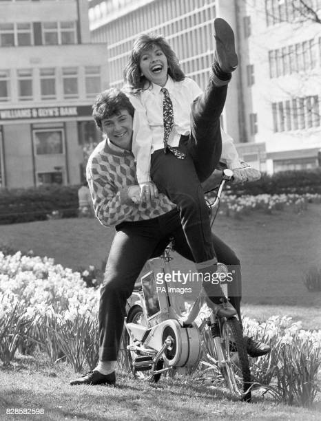New 'Tomorrow's World' presenter Howard Stableford getting into gear as he was welcomed by colleague Maggie Philbin