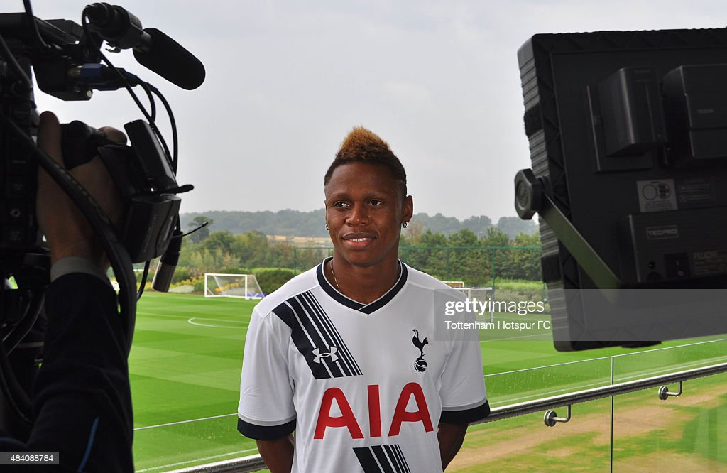 New Tottenham Hotspur signing Clinton Njie is interviewed at Hotspur Way on August 15, 2015 in London, England. The Cameroon international striker was signed from French club Lyon.