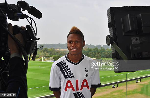 New Tottenham Hotspur signing Clinton Njie is interviewed at Hotspur Way on August 15 2015 in London England The Cameroon international striker was...