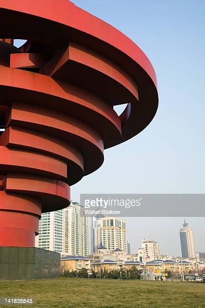 New towers on Xianggang Xilu and Wusi Square Monument, Qingdao, Shandong Province, China