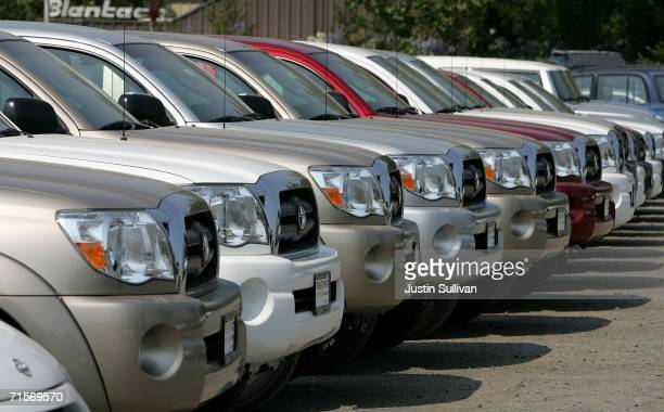 New Toyota trucks are parked on the lot at Freeman Toyota August 2 2006 in Santa Rosa California Toyota slipped past Ford Motor Company in July sales...