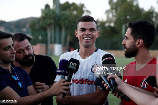 New transfer of Besiktas Pepe speaks to the press after attending a training session of the team in Marbella Spain on July 23 2017 Besiktas team...