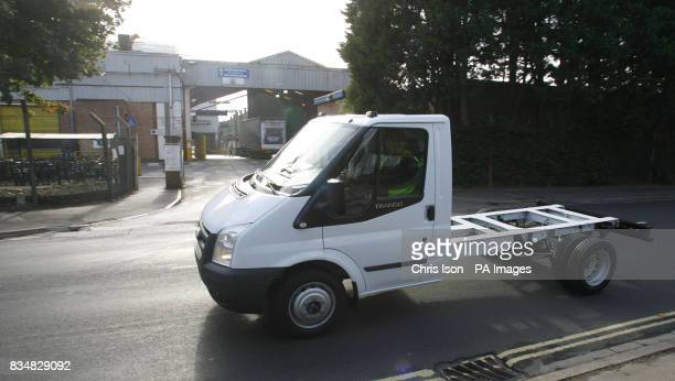 A new Transit leaves the Ford factory in Southampton where workers have started a fourday week as the company cuts production in response to the...