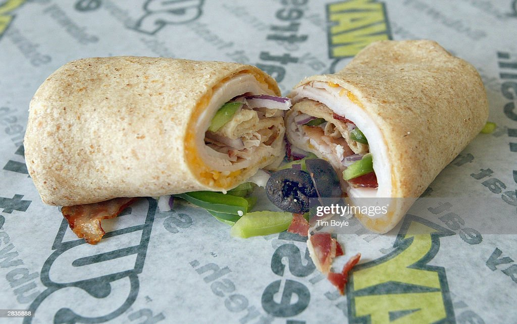 A new Turkey and Bacon Melt Wrap is seen December 29, 2003 in Chicago. Subway restaurants today started to offer two Atkins Nutritionals, Inc.-endorsed low-carbohydrate wraps. The Turkey and Bacon Melt Wrap with Monterey cheddar cheese and the Chicken Bacon Ranch Wrap with Swiss cheese. Both Atkins-Friendly Wraps are available in the U.S. and Canada and have 11 grams Net Carbs or less. The wrap itself, which is made with wheat gluten, cornstarch, oat, sesame flour and soy protein, has only 5 grams Net Carbs. Subway Restaurants is the first quick serve restaurant to partner with Atkins Nutritionals Inc.