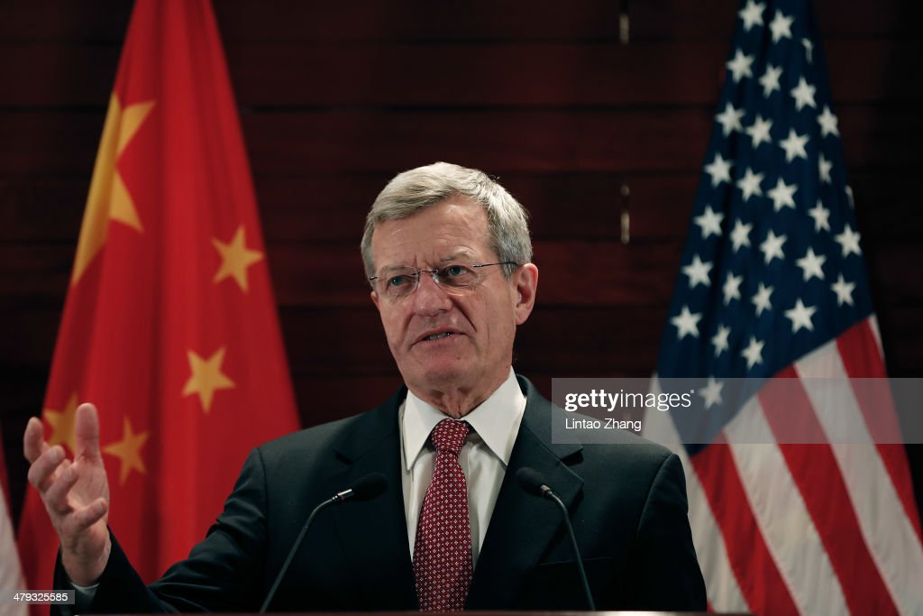 New U.S. Ambassador to China, <a gi-track='captionPersonalityLinkClicked' href=/galleries/search?phrase=Max+Baucus&family=editorial&specificpeople=242972 ng-click='$event.stopPropagation()'>Max Baucus</a> meet the media in U.S. Embassy on March 18, 2014 in Beijing, China. <a gi-track='captionPersonalityLinkClicked' href=/galleries/search?phrase=Max+Baucus&family=editorial&specificpeople=242972 ng-click='$event.stopPropagation()'>Max Baucus</a>, a 72-year-old Democrat from Montana, He had pledged to work hard to strengthen the U.S.-China relationship, which he called 'one of the most important bilateral relationships in the world.'