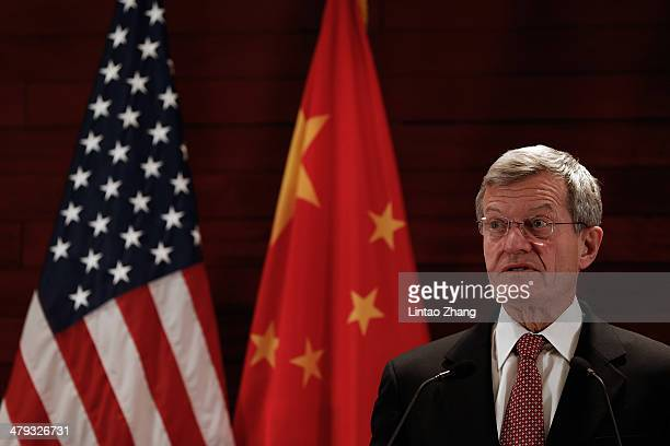 New US Ambassador to China Max Baucus meet the media in US Embassy on March 18 2014 in Beijing China Max Baucus a 72yearold Democrat from Montana He...