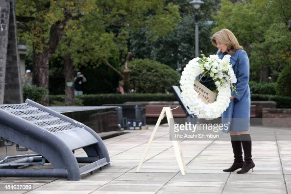 New US Ambassador to Japan Caroline Kennedy offers a wreath at the peace memorial in the Nagasaki Peace Park on December 10 2013 in Nagasaki Japan...