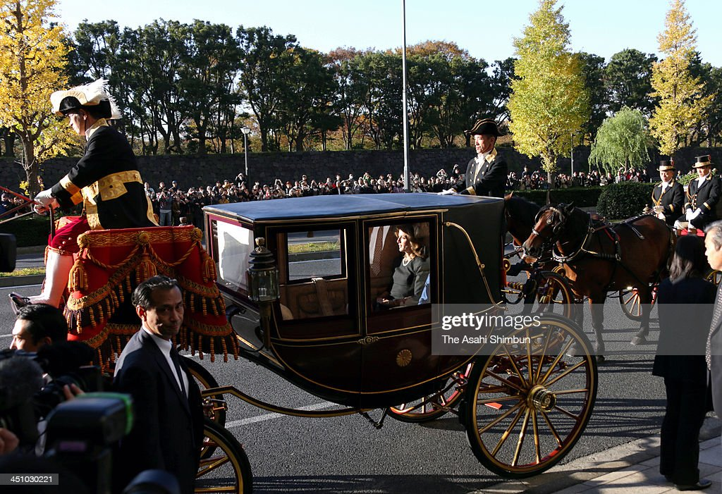 New U.S. Ambassador to Japan <a gi-track='captionPersonalityLinkClicked' href=/galleries/search?phrase=Caroline+Kennedy&family=editorial&specificpeople=93208 ng-click='$event.stopPropagation()'>Caroline Kennedy</a> travels on a horse carriage on her way to the Imperial Palace on November 19, 2013 in Tokyo, Japan. It is a custom for a newly appointed U.S. ambassador to Japan to travel to the Imperial Palace to present their credentials to Japan's Emperor Akihito.