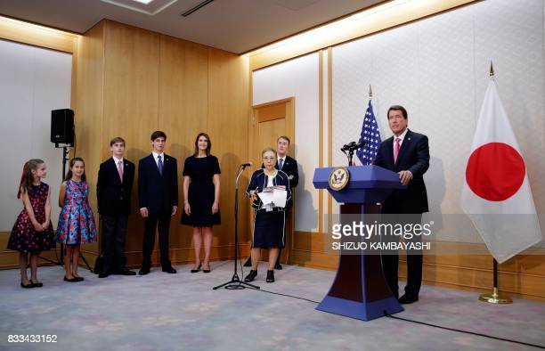 New US Ambassador to Japan William F Hagerty IV speaks beside his family during a press conference upon his arrival at Narita International Airport...