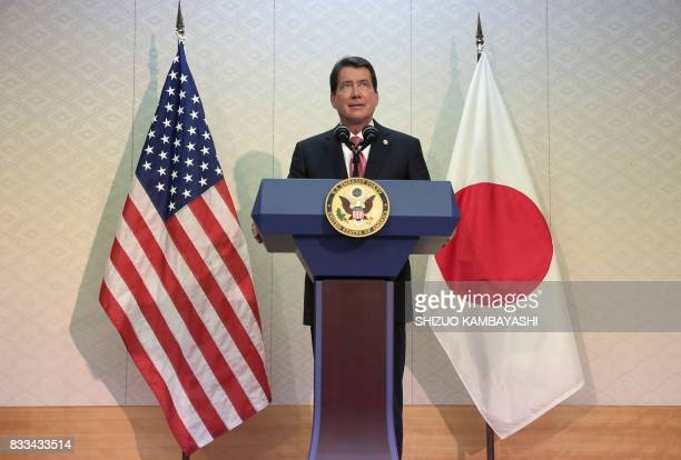 New US Ambassador to Japan William F Hagerty IV speaks during a press conference upon his arrival at Narita International Airport in Narita east of...