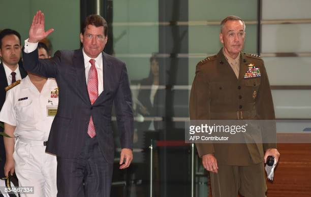 New US Ambassador to Japan William Hagerty and General Joseph Dunford the chairman of the US Joint Chiefs of Staff arrive at the prime minister's...