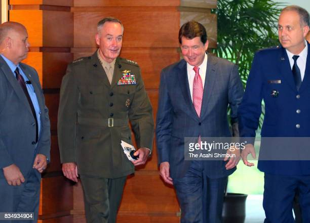 New US Ambassador to Japan William Hagerty and General Joseph Dunford chairman of the US Joint Chiefs of Staff are seen after their meeting with...