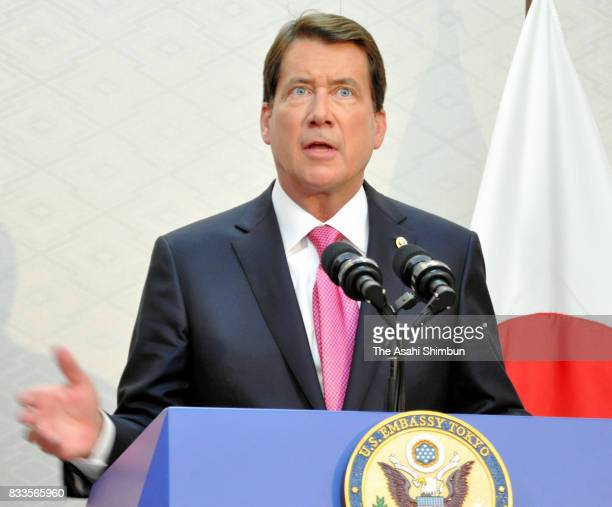 New US Ambassador to Japan William Hagerty speaks during a press conference on arrival at Narita International Airport on August 17 2017 in Narita...