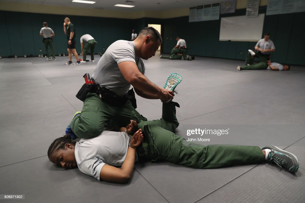 New U.S. Border Patrol agents practice take-down procedures at the Border Patrol Academy on August 2, 2017 in Artesia, New Mexico. All new Border Patrol agents attend the academy in New Mexico before assuming their posts, mostly along the U.S.-Mexico border. President Trump has pledged to add an additional 5,000 agents to the force of more than 21,000 as part of his border security policy.