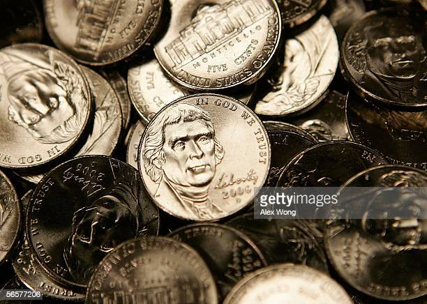New US nickels are shown on display at an unveiling ceremony January 12 2006 in Washington DC The new nickel last of the Westward Journey Nickel...