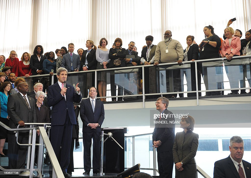 New US Secretary of State John Kerry speaks to State Department employees upon arrival at the State Department on February 4, 2013 in Washington, DC. Kerry, the former head of the Senate Foreign Relations Committee, replaced Hillary Clinton on February 1. AFP PHOTO/Mandel NGAN