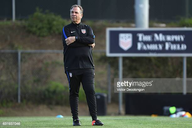 New USMNT head coach Bruce arena looks on during the USMNT training session at StubHub Center on January 11 2017 in Carson California