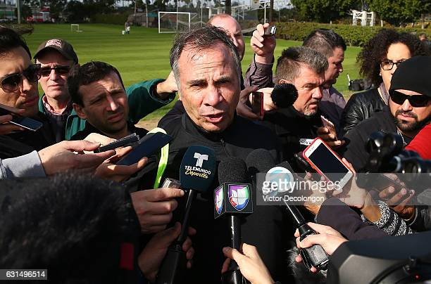 New USMNT head coach Bruce Arena takes questions from the media after the USMNT training session at StubHub Center on January 11 2017 in Carson...
