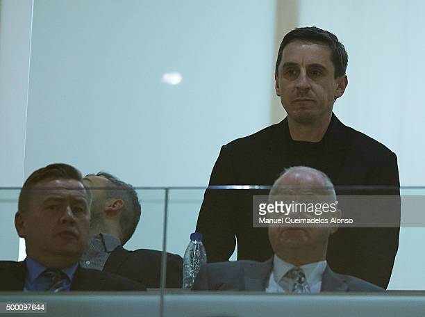 New Valencia CF head coach Gary Neville looks on prior to the La Liga match between Valencia CF and FC Barcelona at Estadi de Mestalla on December 05...