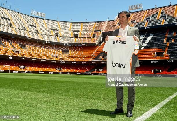 New Valencia CF head coach Marcelino Garcia poses during his presentation at Mestalla stadium on May 23 2017 in Valencia Spain