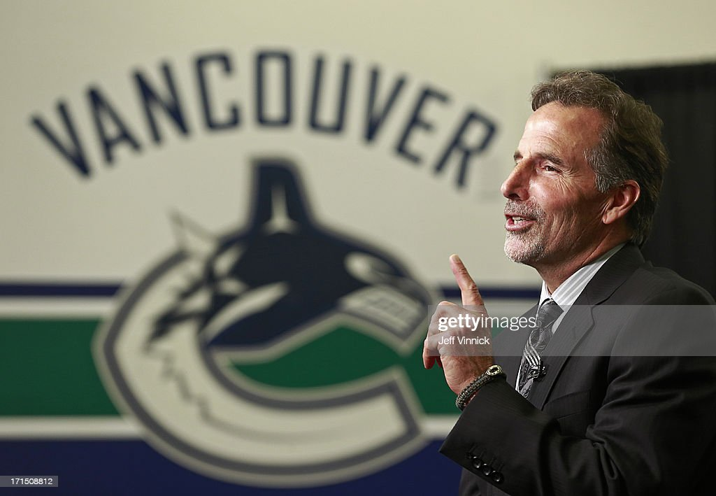 New Vancouver Canucks head coach <a gi-track='captionPersonalityLinkClicked' href=/galleries/search?phrase=John+Tortorella&family=editorial&specificpeople=213393 ng-click='$event.stopPropagation()'>John Tortorella</a> talks during a press conference at Rogers Arena June 25, 2013 in Vancouver, British Columbia, Canada.