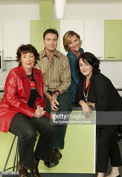 New Vega FM radio station onair presenters from left to right Angela Catterns Tony Squires Rebecca Wilson and Wendy Harmer 25 October 2005 SMH...