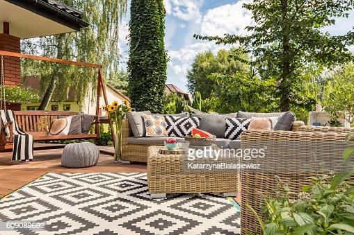 New villa patio idea : Stock Photo