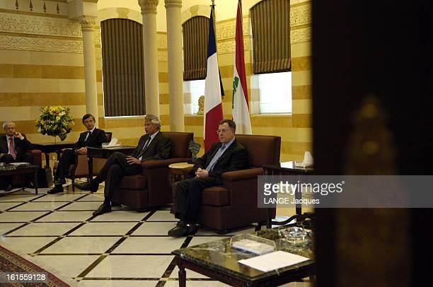 New War In Lebanon Dominique DE VILLEPIN et Philippe DOUSTEBLAZY rencontrent à BEYROUTH Fouad SINIORA le Premier ministre libanais en présence de...