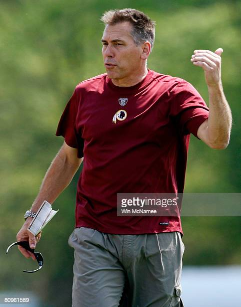 New Washington Redskins Head Coach Jim Zorn directs his team during the first day of minicamp at Redskins Park May 2 2008 in Ashburn Virginia