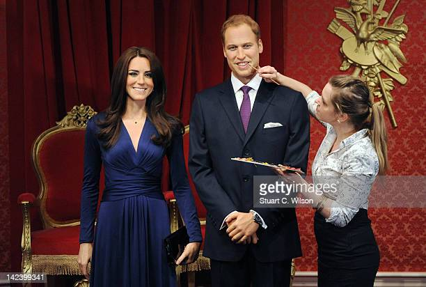 New wax figures of Prince William Duke of Cambridge and Catherine Duchess of Cambridge are being revealed at Madame Tussauds on April 4 2012 in...
